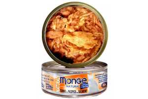 Консервы Монж для кошек тихоокеанский тунец с лососем 80гр Monge Cat Natural_0