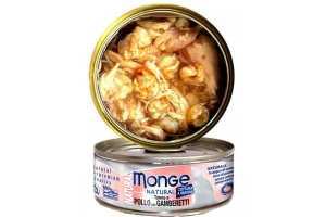 Консервы Монж для кошек тунец с курицей и креветками 80гр Monge Cat Natural_0